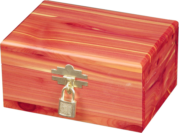 Cedar Urn with gold clasp and lock to hold a pet 21-32 lbs.
