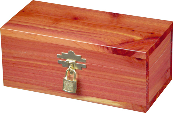Cedar Urn with gold clasp and lock to hold a pet 33-85 lbs.